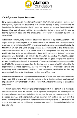 Impact Assessment of Akshara Foundation's Engagement with the ICDS system in Karnataka, 2013