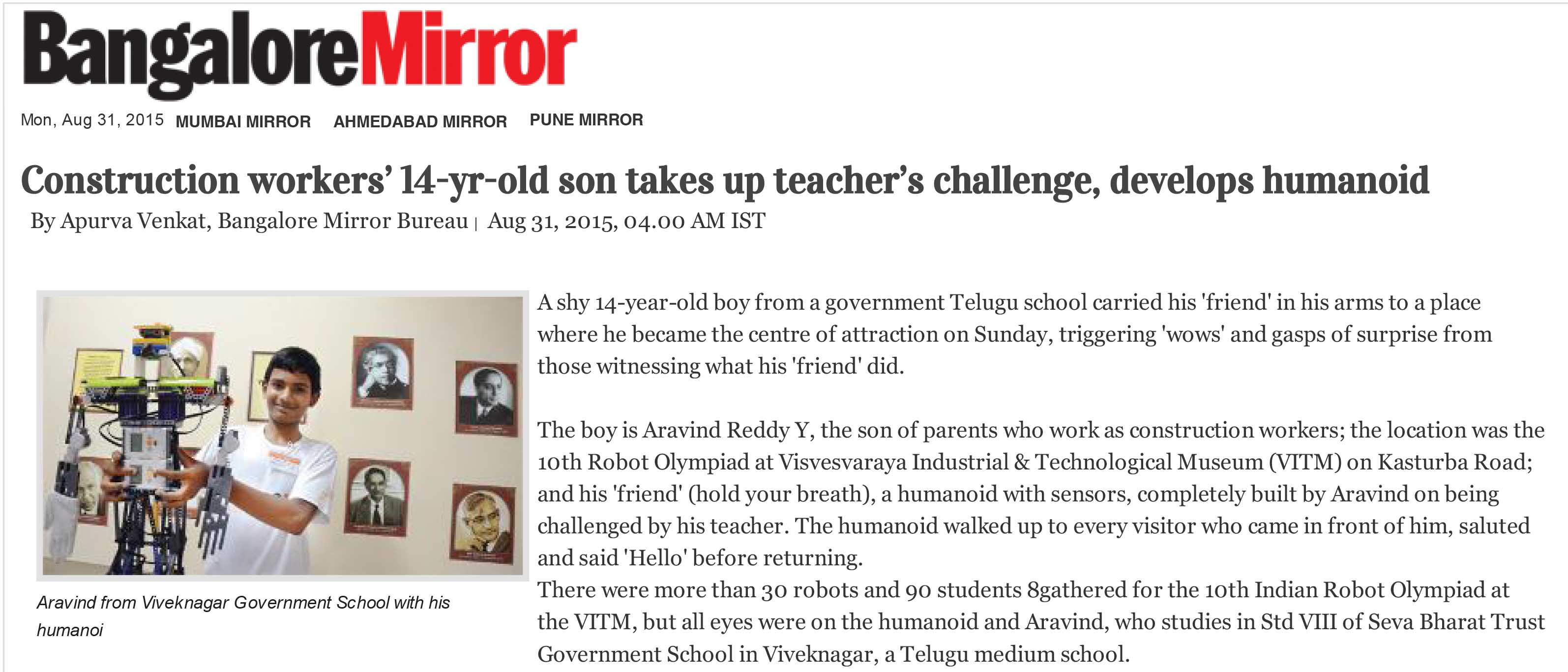 Construction workers' 14-yr-old son takes up teacher's challenge, develops humanoid