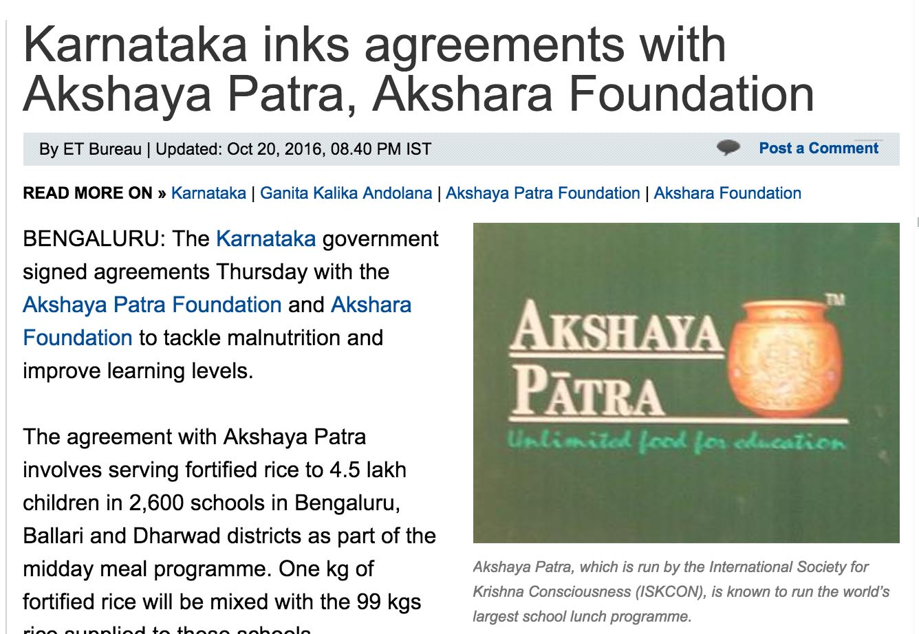 Karnataka inks agreement with Akshaya Patra, Akshara Foundation