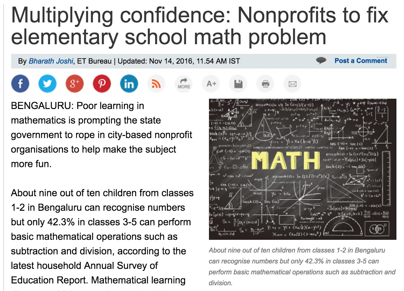 Multiplying confidence : Nonprofits to fix elementary school math problem