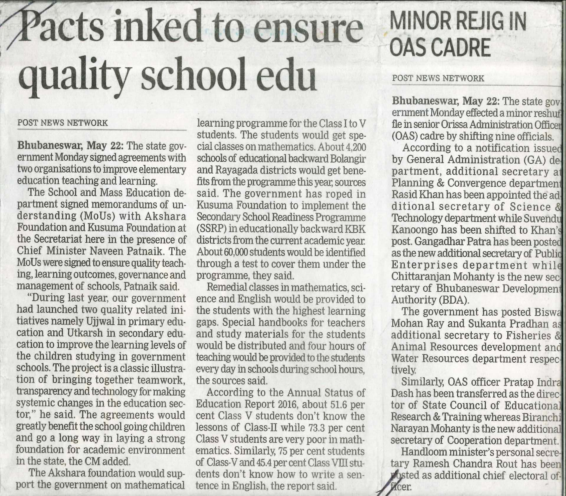 Pacts inked to ensure quality school edu