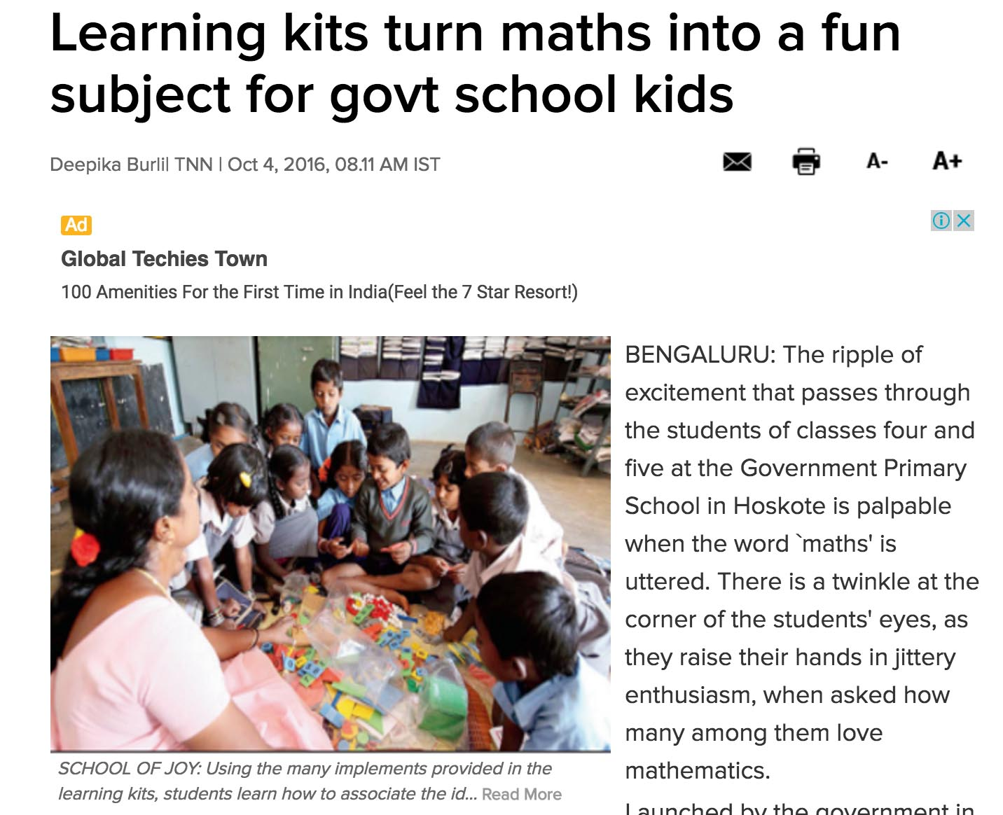 Learning Kits turn maths into a Fun subject for government school kids