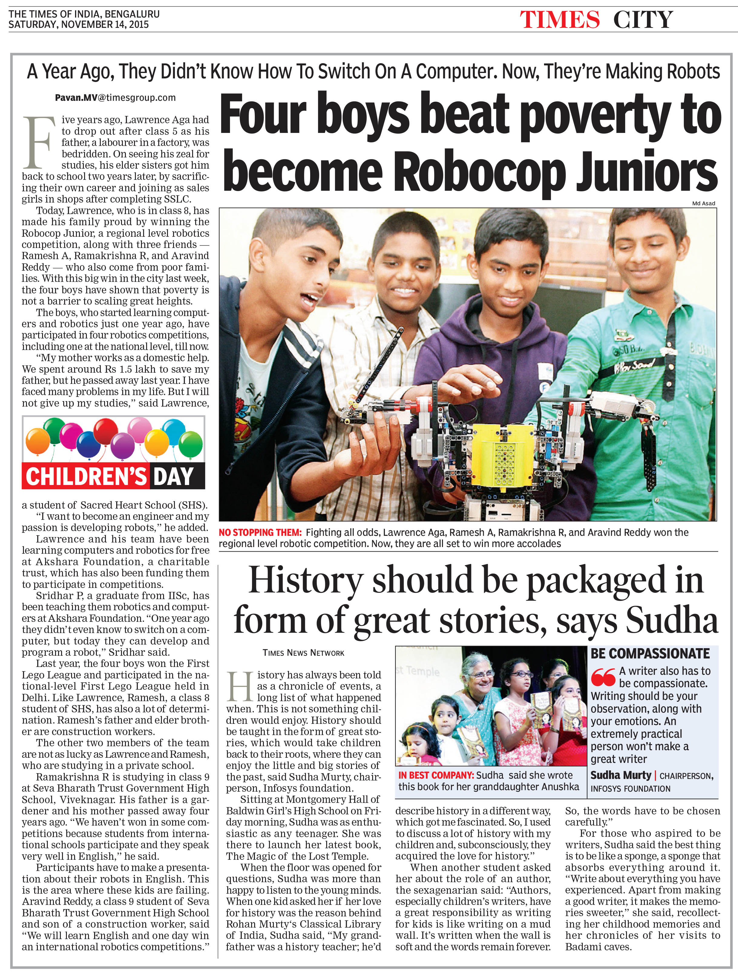 Four boys beat poverty to become Robocop Juniors