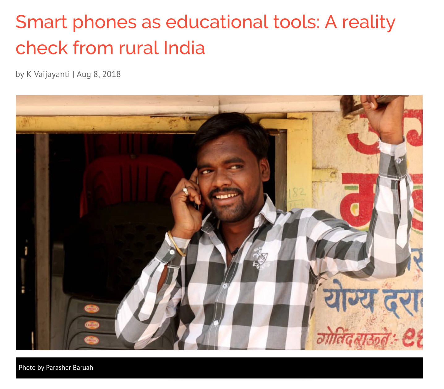 Smart phones as educational tools: A Reality Check from Rural India