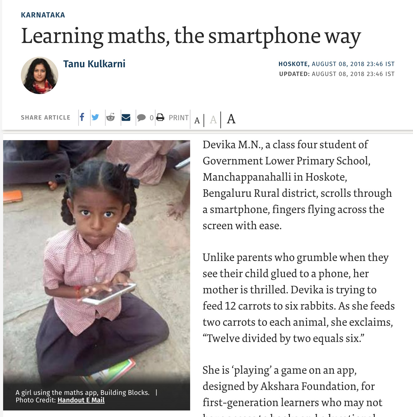 Learning maths, the smartphone way
