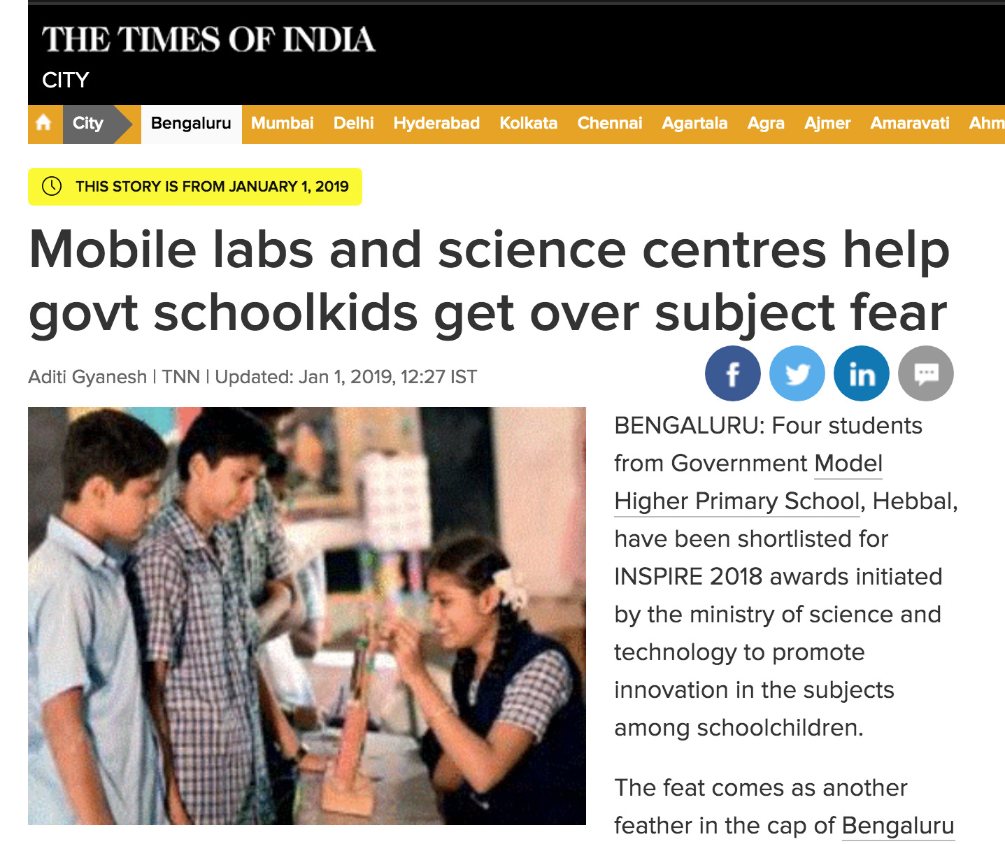 Mobile labs and science centres help govt schoolkids get over subject fear